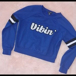 Sale 💰 vibin'  semi cropped sweatshirt royal blue